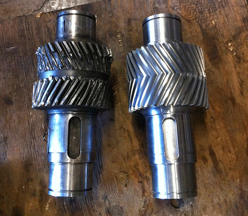 Before-After Herring-bone Pinon's for Farrell Gearbox